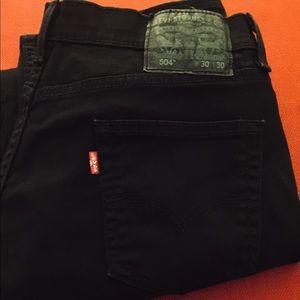 LEVI'S 504 Regular Fit, Black 30 x 30 Straight Leg